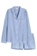 Pyjama shirt and shorts - Chambray/Patterned - Ladies | H&M GB 2