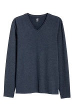 Long-sleeved T-shirt Slim fit - Dark blue marl - Men | H&M CN 2