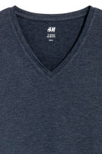 Long-sleeved T-shirt Slim fit - Dark blue marl - Men | H&M CN 3