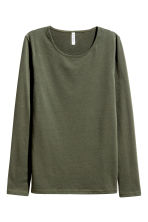 Long-sleeved jersey top - Khaki green - Ladies | H&M 2
