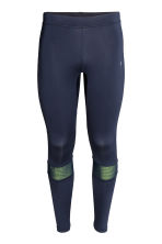 Running tights - Dark blue/Yellow -  | H&M CN 2