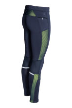 Running tights - Dark blue/Yellow -  | H&M CN 3