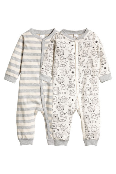 2-pack all-in-one pyjamas - Natural white/Striped -  | H&M CN