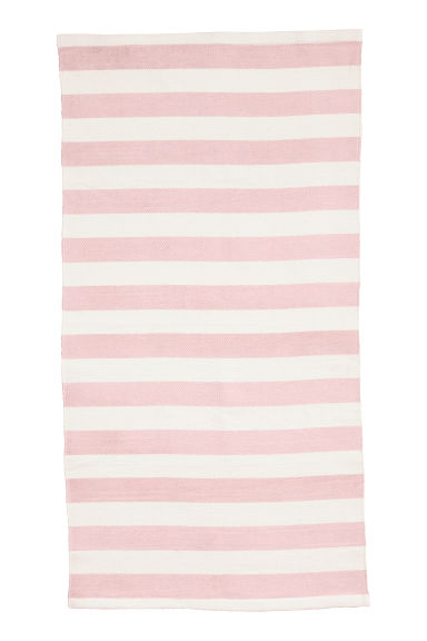 Tapis rayé en coton - Rose clair - Home All | H&M FR 1