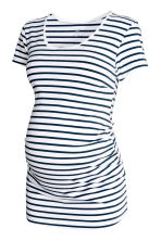 MAMA汗布上衣 - White/Dark blue/Striped - Ladies | H&M CN 2