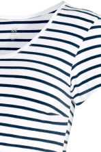 MAMA汗布上衣 - White/Dark blue/Striped - Ladies | H&M CN 3