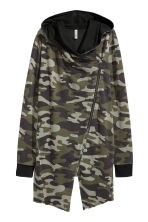 Hooded sweatshirt cardigan - Khaki green/Pattern -  | H&M CA 3