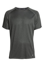 Short-sleeved running top - Dark grey marl - Men | H&M CN 2