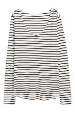 V-neck jersey top - White/Striped - Ladies | H&M CN 2