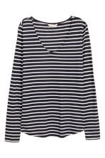 V-neck jersey top - Dark blue/Striped - Ladies | H&M CN 2