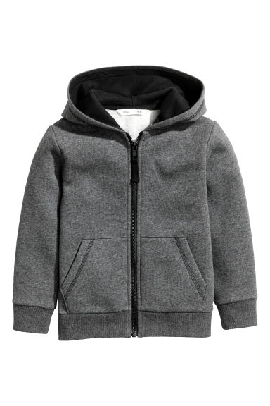 Hooded jacket - Dark grey marl - Kids | H&M CN 1