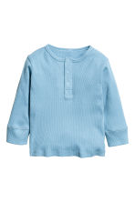 Long-sleeved Henley shirt - Blue -  | H&M 1