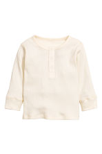 Long-sleeved Henley shirt - Natural white -  | H&M CN 1