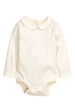 Bodysuit with a collar - Natural white - Kids | H&M 1