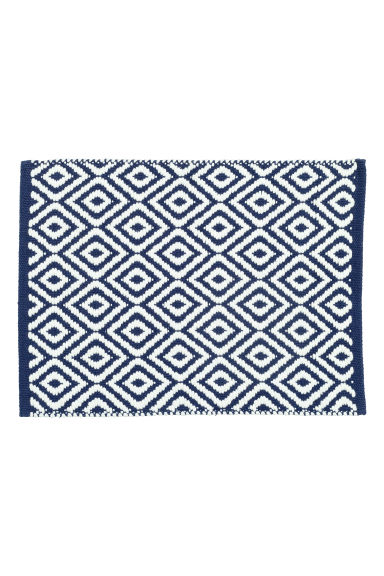 Jacquard-weave bath mat - Dark blue/Patterned - Home All | H&M CN 1