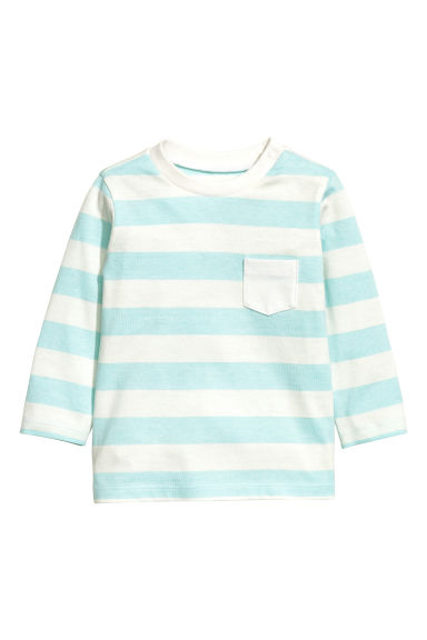 Long-sleeved T-shirt - Light turq/Striped -  | H&M