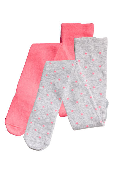 Lot de 2 paires de collants - Gris/pois - ENFANT | H&M FR 1