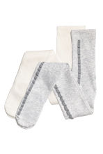 2-pack tights - Light grey/Glittery - Kids | H&M CN 1