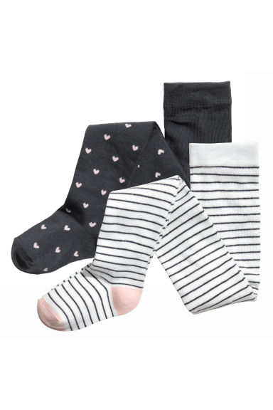 2-pack tights - Dark grey/Hearts - Kids | H&M 1