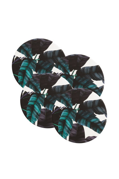 4-pack coasters - Dark blue/Leaf - Home All | H&M CN 1