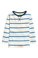 Long-sleeved T-shirt - White/Blue striped -  | H&M CN 2