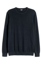 Fine-knit cotton jumper - Dark blue - Men | H&M CN 2