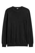 Fine-knit cotton jumper - Black - Men | H&M CA 3