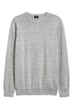 Fine-knit cotton jumper - Grey marl - Men | H&M CN 2