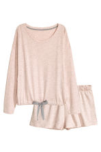 Pyjamas with top and shorts - Pink marl - Ladies | H&M CN 2