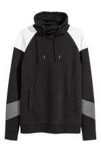 Funnel-collar sweatshirt - Black/White - Men | H&M 2