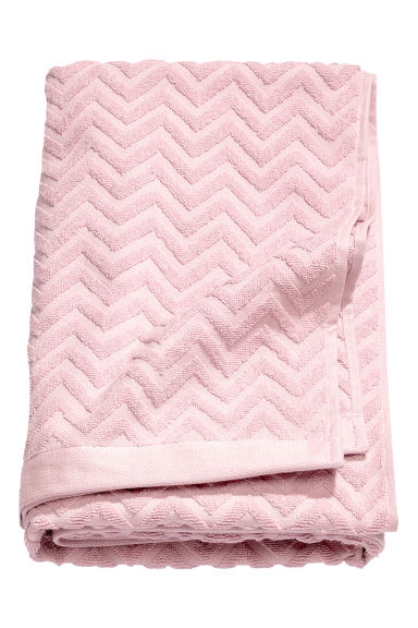 Jacquard-patterned bath towel - Light pink - Home All | H&M CN 1