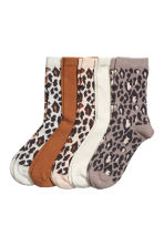 5-pack socks - Light beige/Leopard print - Ladies | H&M 1
