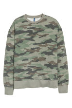 Sweatshirt - Khaki green/Patterned - Men | H&M 2