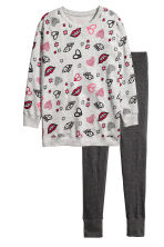 Lounge set top and leggings - Grey/Patterned -  | H&M CN 2