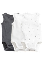 3-pack sleeveless bodysuits - Dark grey - Kids | H&M CN 1