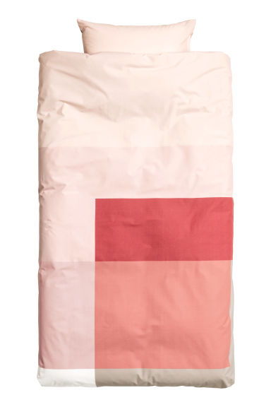 Block-print duvet cover set - Coral/Pink - Home All | H&M CN 1