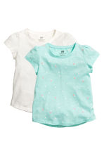 2-pack jersey tops - Mint green/Heart - Kids | H&M 2