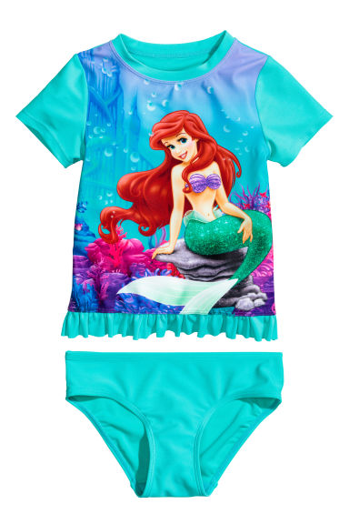 UPF 50 兩件式泳裝 - Turquoise/The Little Mermaid - Kids | H&M 1