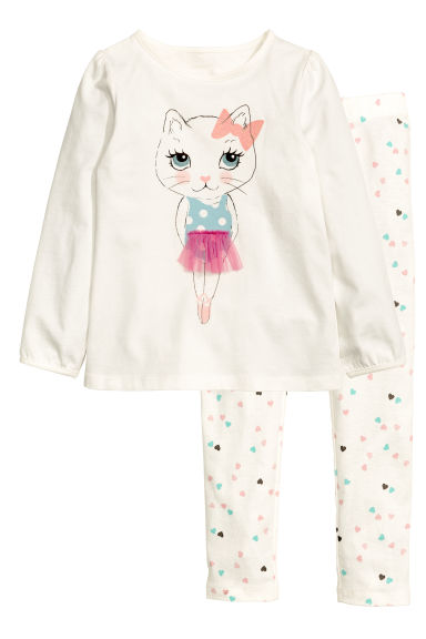 Jersey pyjamas - White - Kids | H&M 1