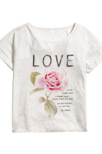 Pigiama t-shirt e pantaloni - Grigio/Love - DONNA | H&M IT 4