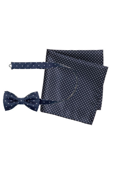 Papillon con fazzoletto - Blu scuro/pois - UOMO | H&M IT 1