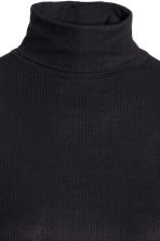 Ribbed polo-neck top - Black - Ladies | H&M CN 3