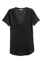 Linen jersey top - Black - Ladies | H&M 2