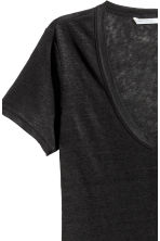 Linen jersey top - Black - Ladies | H&M 3