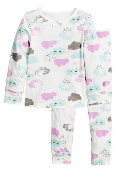 Jersey pyjamas - White/Cloud - Kids | H&M 1