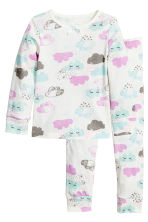 Jersey pyjamas - White/Cloud - Kids | H&M CN 1