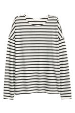 Striped jersey top - Light grey/Striped - Ladies | H&M 2