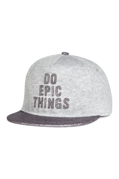Cap with a motif - Light grey marl - Kids | H&M 1