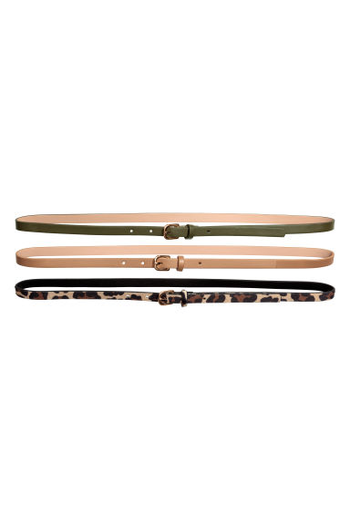 3-pack narrow belts - Leopard print - Ladies | H&M CN 1