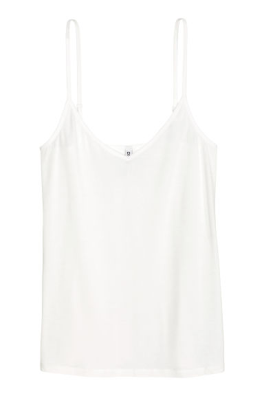 Jersey strappy top - White -  | H&M
